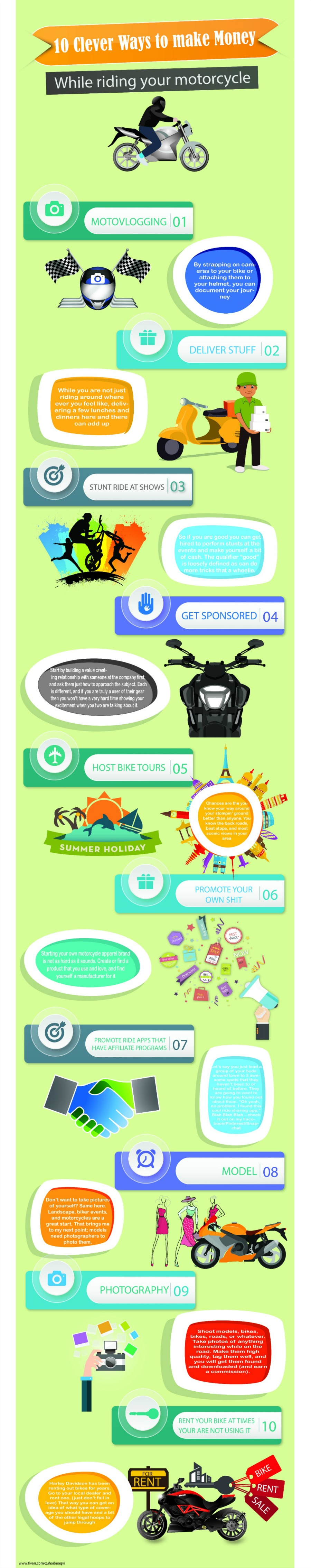 10 Clever ways to make money while riding your motorcycle graphic