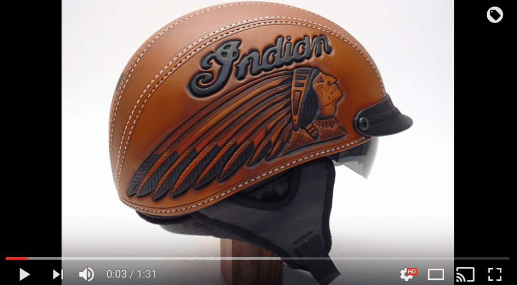 e7835884de0 ... leather Indian motorcycle helmet. In this short video