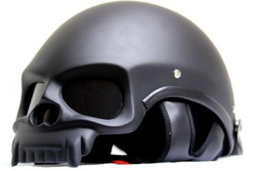 MASEI MATT BLACK SKULL MOTORCYCLE CHOPPER DOT HELMET
