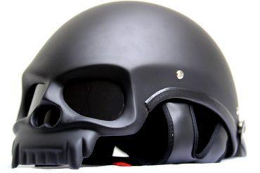 MASEI MATT BLACK SKULL MOTORCYCLE CHOPPER DOT HELMET