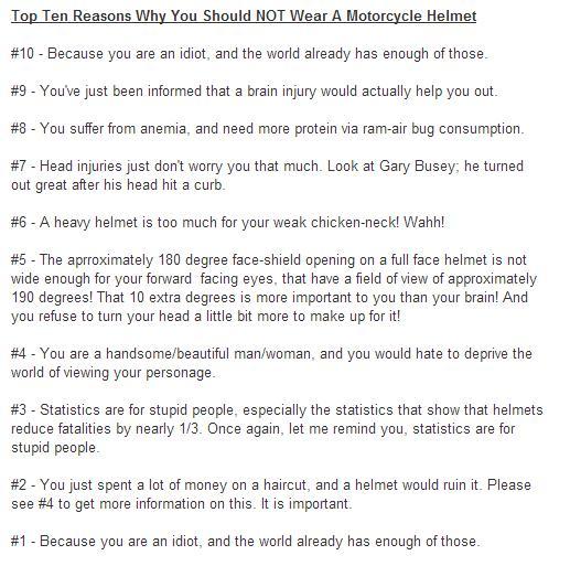 top 10 reasons not to wear a motorcycle helmet