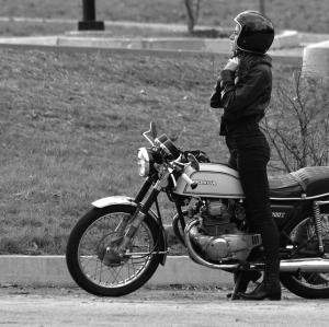 bikergirl in vintage helmet