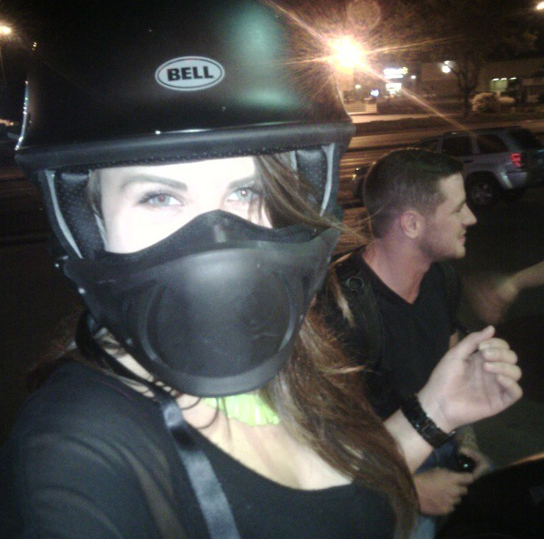 bikergirl taking selfie in bell rogue helmet