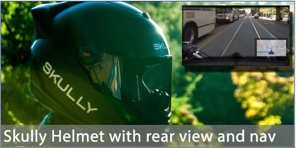 Skully Helmets with rearview and navigation