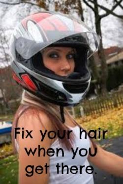 helmet hair fix it when you get there in female motorcycle helmet