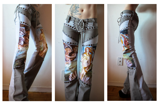 denim pants with studs