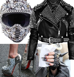 spikes on helmet jacket shoes and jewelry