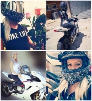 Crystal and spike helmet from bikerdee