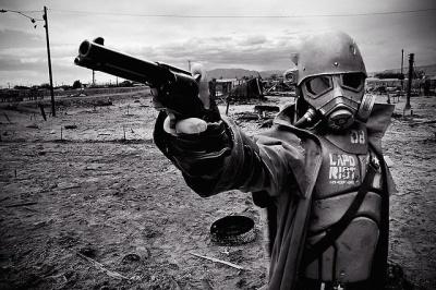 Apocalypse motorcycle Helmet and a gun