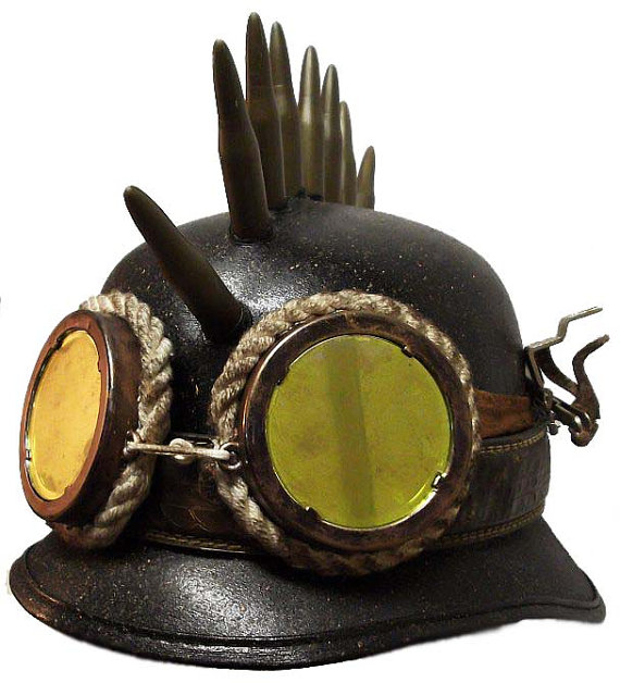 Steampunk Army Biker Helmet