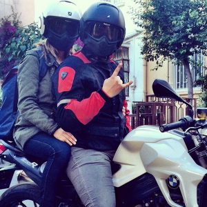 biekr couple on bmw in shark raw helmets