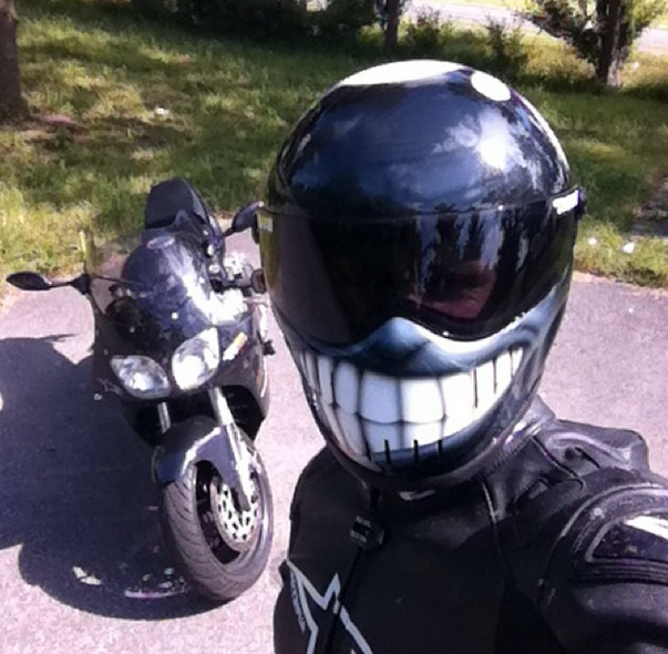 selfie in a smiley helmet