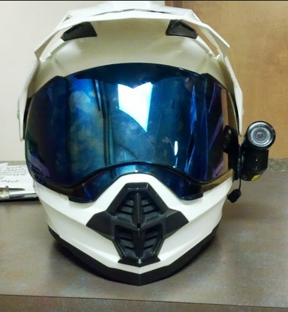 AGV AX 8 Dual Sport blue visor with camera