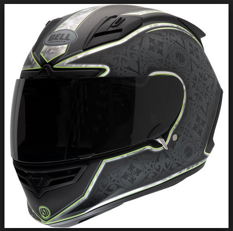 Bell Star Carbon Motorcycle Helmet with green trim