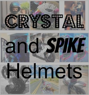 Crystal and spike Helmet Design button