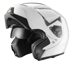 GLX flip up white Modular Motorcycle Helmet with dual visors