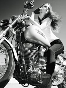 Woman on Harley Davidson Motorcycle