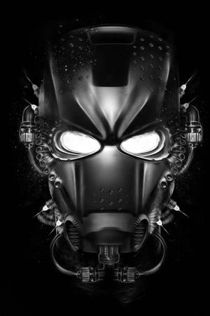 black iron man futuristic helmet concept