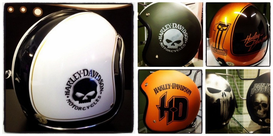 oldschool harley davidson helmet collage