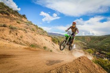 Dirt bike rider getting air