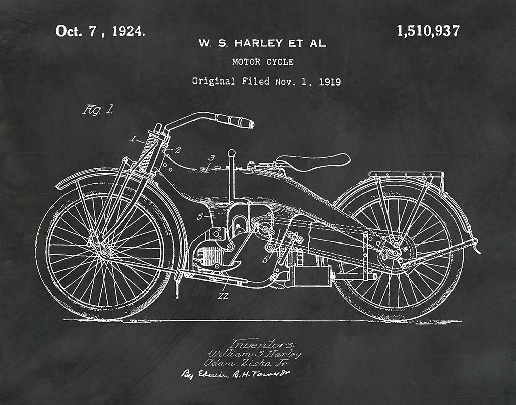 Motorcycle Patent Prints