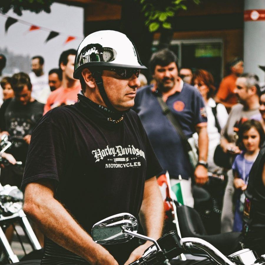 Man wearing a Harley-Davidson motorcycle shirt