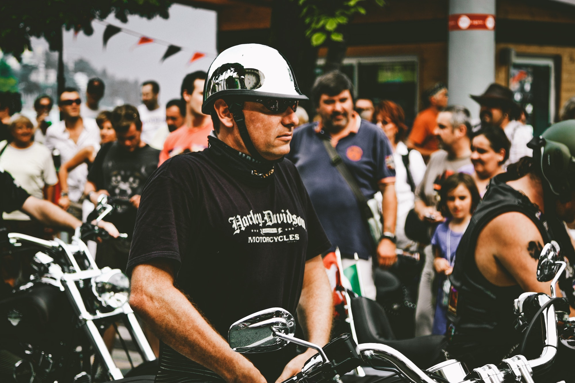 Man wearing a Harley-Davidson motorcycle shirt