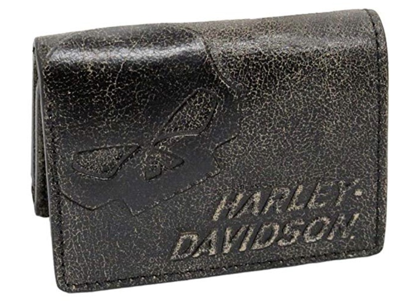 Harley-Davidson Burnished Tri-Fold Skull Wallet