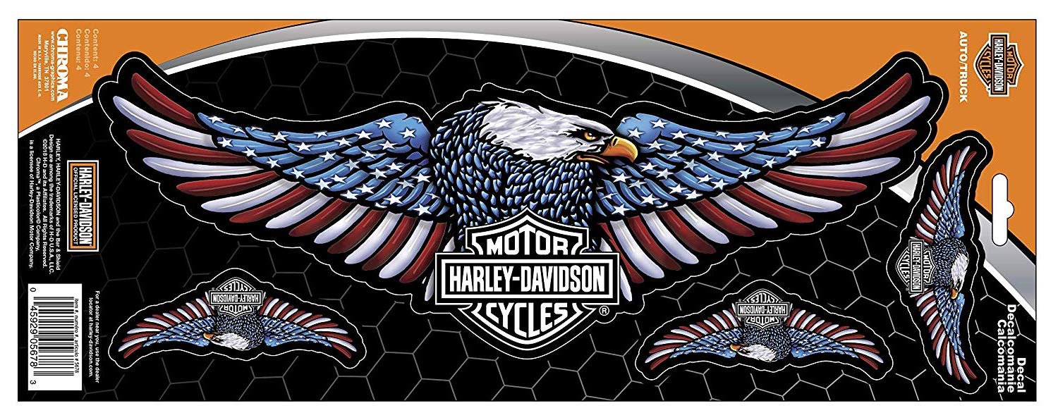 Harley-Davidson Eagle Red/White/Blue Onz Decal