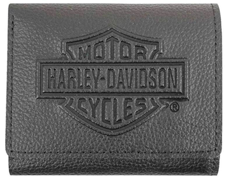 Harley-Davidson Embossed B&S Logo Tri-Fold Wallet