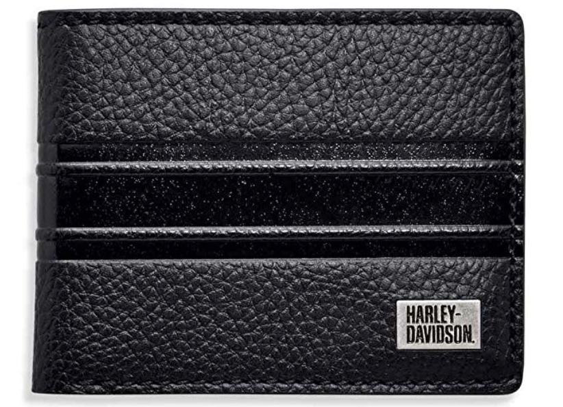 Harley-Davidson Embossed Stripe Bi-Fold Leather Wallet
