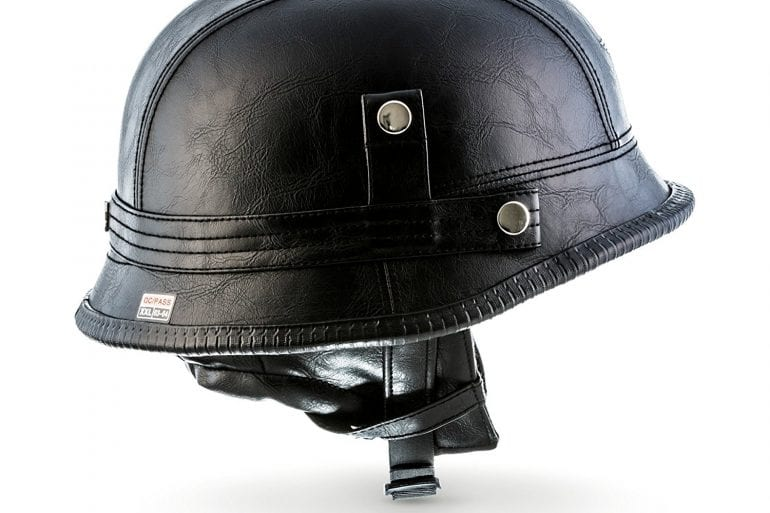 MOTO D33 Leather Black Open Face Helmet