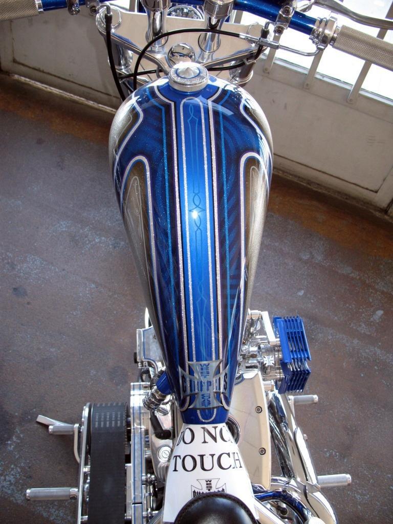 Chrome Frame Blue El Diablo built by West Coast Choppers