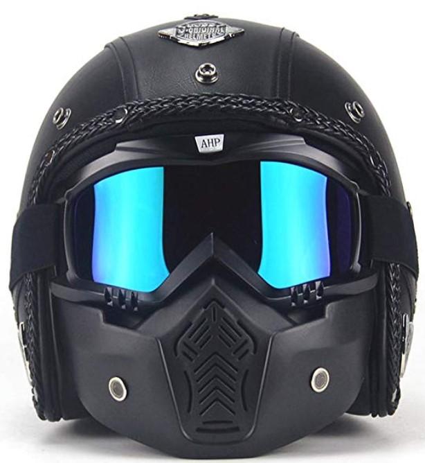 AUTOPDR Open Face Vintage Motorcycle Helmet