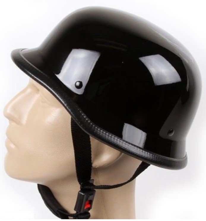 German Novelty Shiny Black Motorcycle Half Helmet