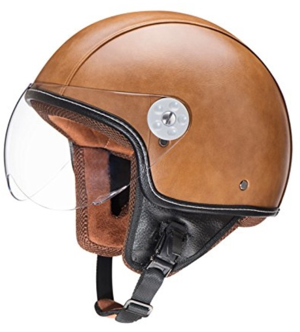 Woljay Leather Motorcycle Vintage Half Helmets