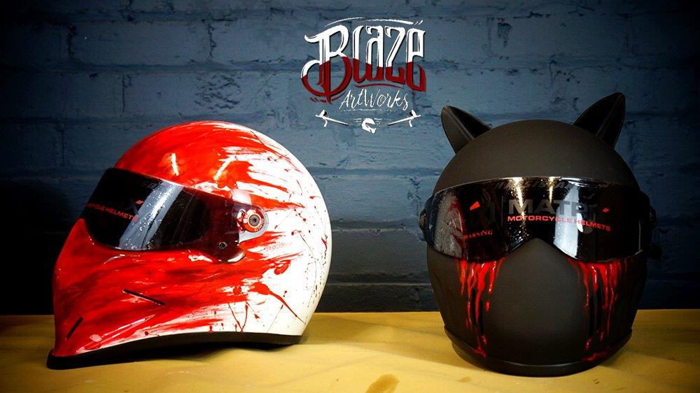 Casques de moto personnalisés à l'aérographe de Blaze ArtWorks