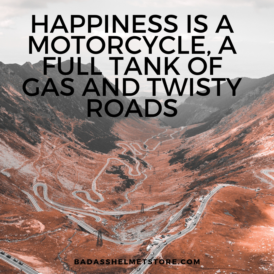 Happiness is a motorcycle, a full tank of gas and twisty roads