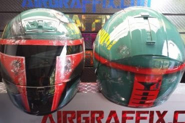 Custom Boba Fett Airbrushed Motorcycle Helmet by Air Graffix front and back view