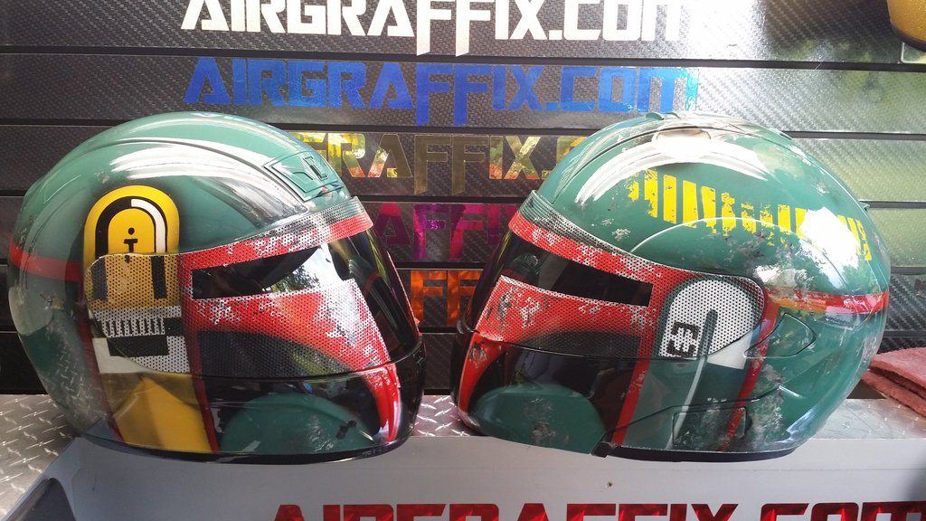 Custom Boba Fett Airbrushed Motorcycle Helmet by Air Graffix side view