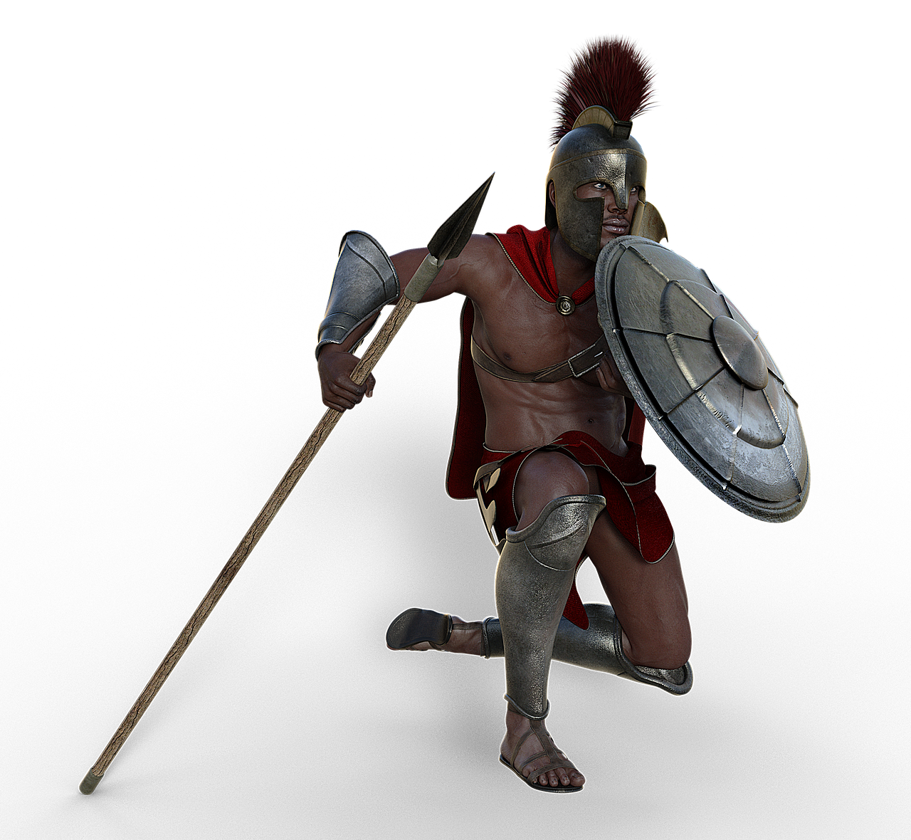 Rendering of a man wearing a spartan novelty helmet