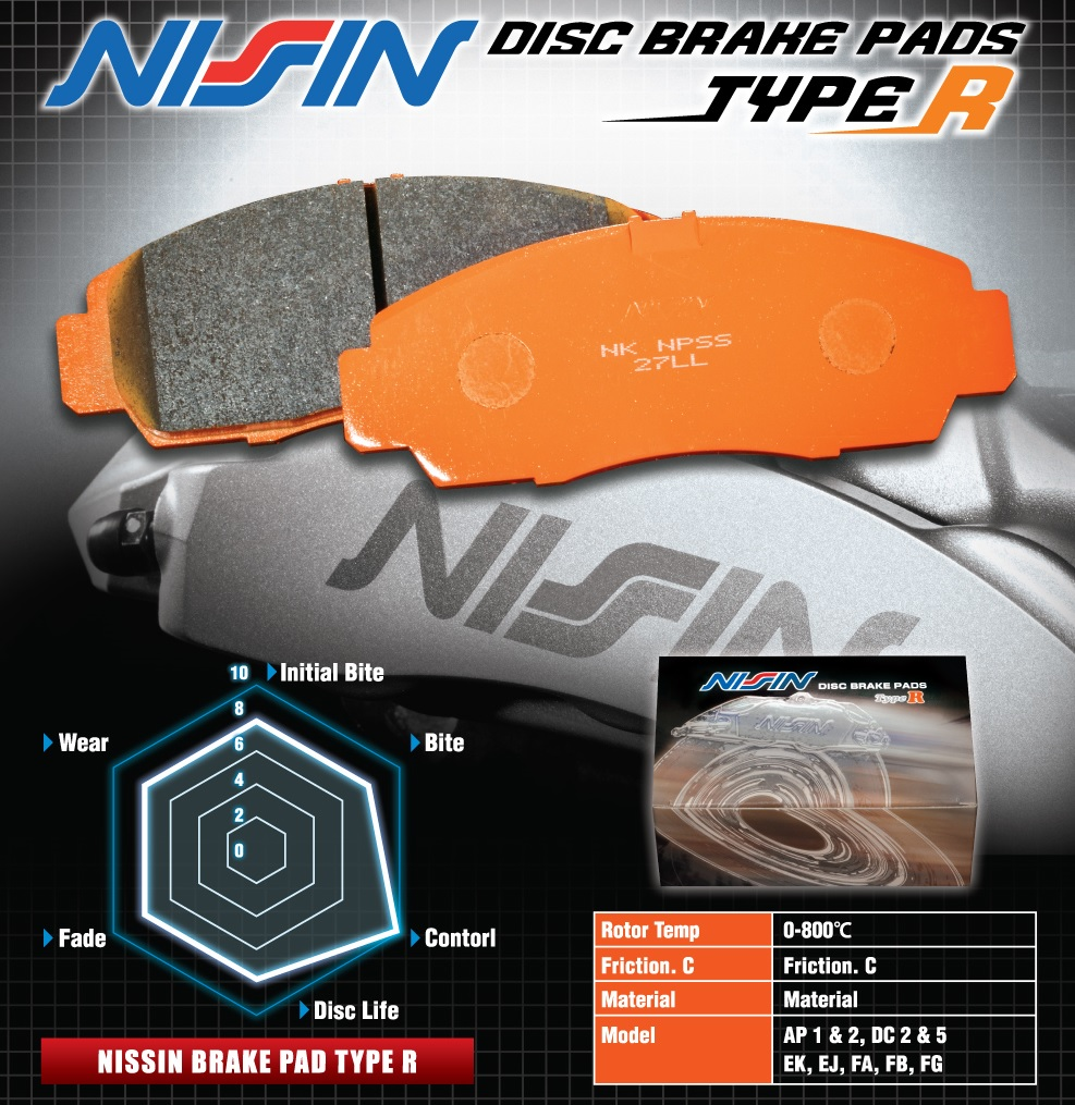 Nissin Racing Type R brake pads for supersport racing