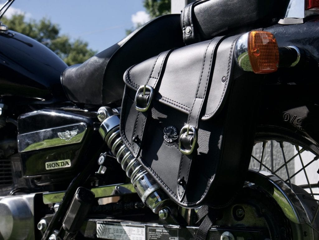 Viking Cycle Sportster Swing arm Saddlebag on the bike