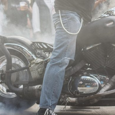 Smoky Burnout on a custom Bobber