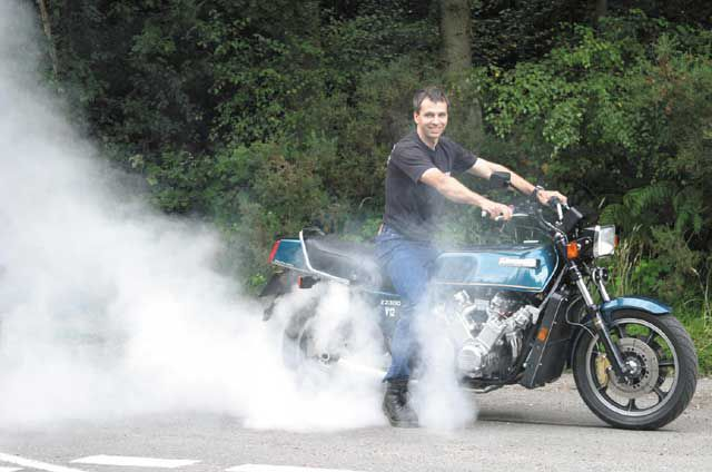 Allen Millyard doing a burnout on his V12 KZ2300