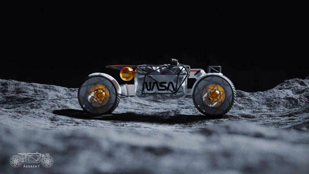 Hookie Company's Tardigrade Moon Motorcycle on the moon's surface