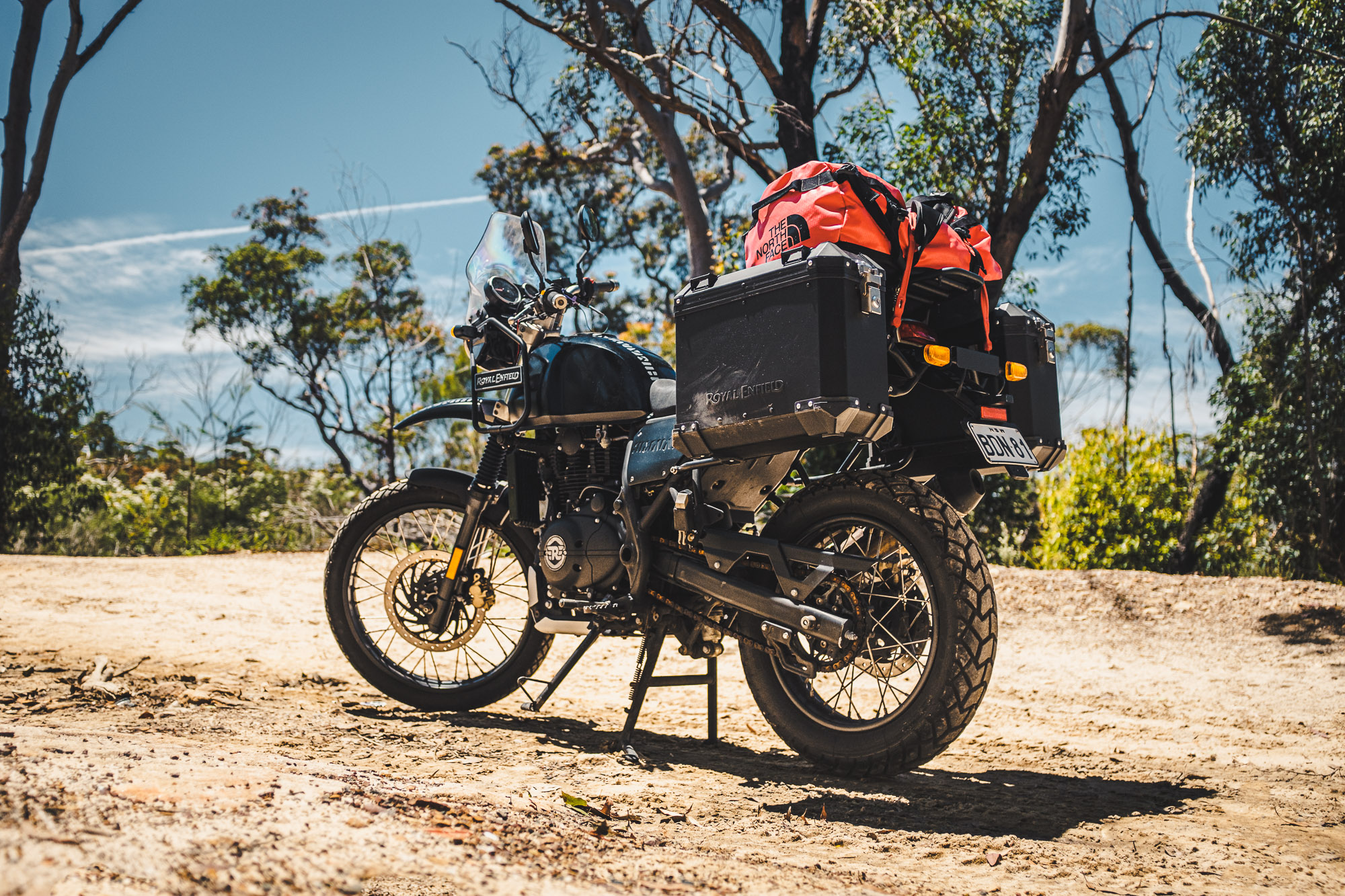 A Royal Enfield Himalayan in the Sydney bush