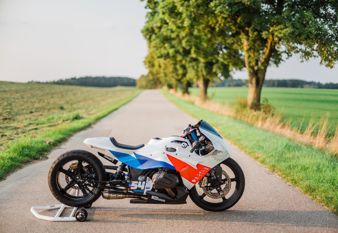 BMW sprint racing motorcycle on a country lane