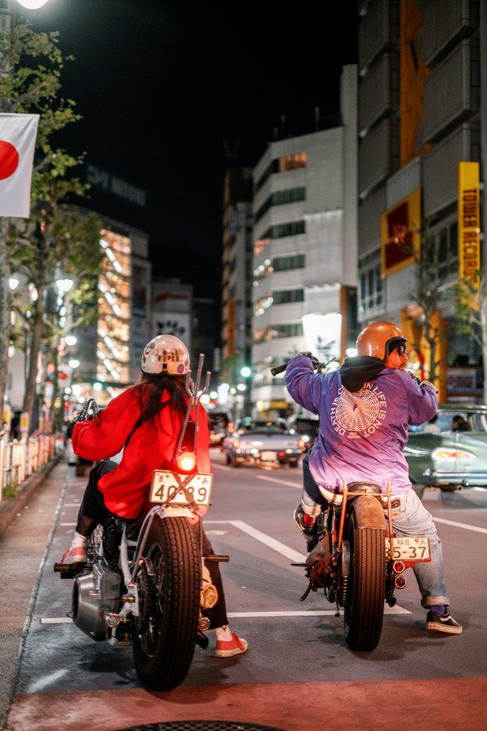 Two Harley-Davidson choppers on the streets of Tokyo