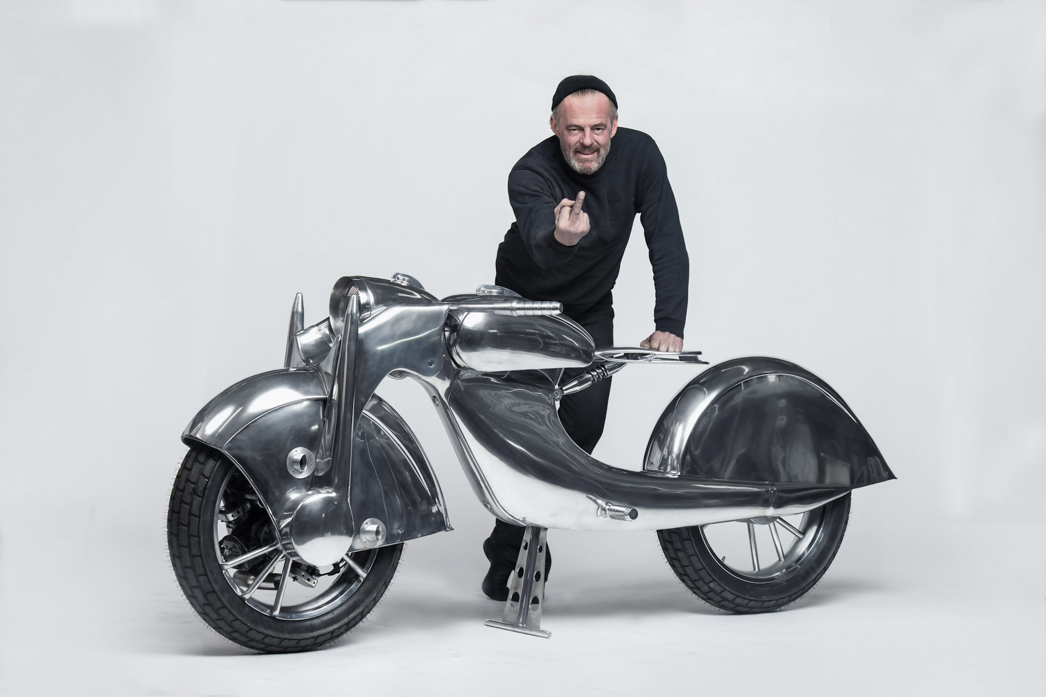 Craig Rodsmith and his engine-wheeled custom bike 'The Killer'.